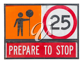old prepare to stop traffic sign on white background