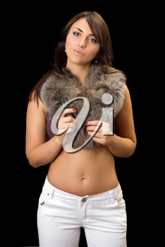 Royalty Free Photo of a Woman in a Fur Wrap
