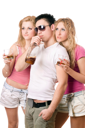 Royalty Free Photo of Three Young People Drinking