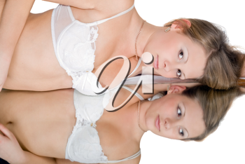 Royalty Free Photo of a Woman in Lingerie Leaning on a Mirror
