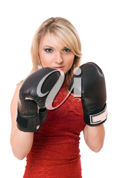 Pretty young blond girl in  boxing gloves
