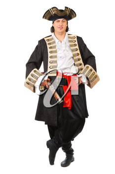 Young grinning man in pirate costume.  Isolated on white