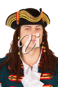 Portrait of young man wearing pirate costume. Isolated on white