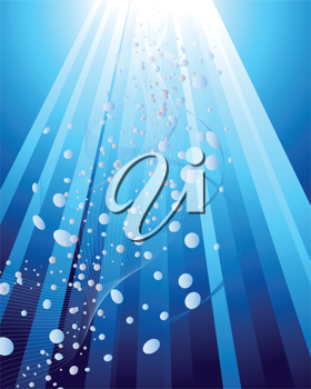 Underwater rays background for design use. Vector illustration.