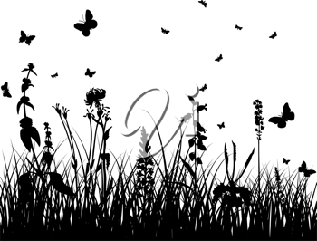 Vector grass silhouettes background. All objects are separated.
