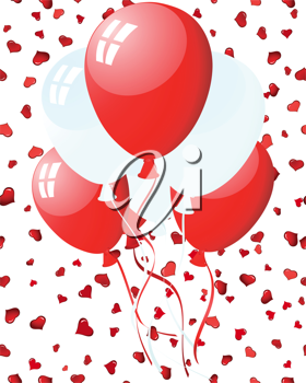 Beautiful balloons in the air on seamless hearts backgrond. Vector illustration.