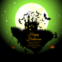 Happy Halloween Greeting Card. Elegant Design With Castle, Bats, Owl, Pumpkins and Cats Over Grunge Green Background With Ink Blots. Vector illustration.