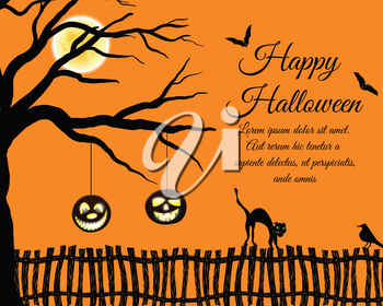 Happy Halloween Greeting Card. Elegant Design With Tree, Bats, Pumpkin, Cat Going on a Fence and Sitting  Raven Over Grunge Orange. Vector illustration.