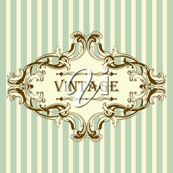 Vintage Frame With Retro Ornament Elements in Antique Rococo Style. Elegant  Decorative Design. Vector Illustration.