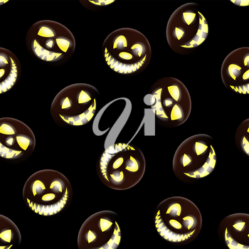 Halloween holiday seamless pattern with smiling pumpkins over black background for creating Halloween designs.  Vector illustration.