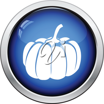 Pumpkin icon. Glossy button design. Vector illustration.