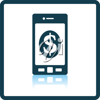Smartphone with dollar sign icon. Shadow reflection design. Vector illustration.