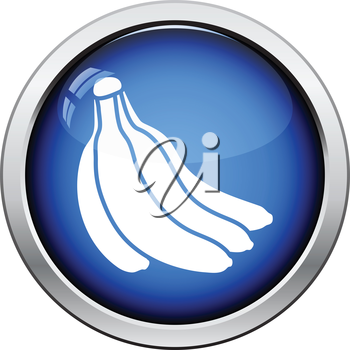 Icon of Banana. Glossy button design. Vector illustration.