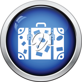 Suitcase icon. Glossy button design. Vector illustration.