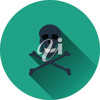 Icon of poison from skill and bones. Flat color design. Vector illustration.