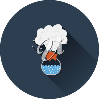 Icon explosion of chemistry flask. Flat color design. Vector illustration.