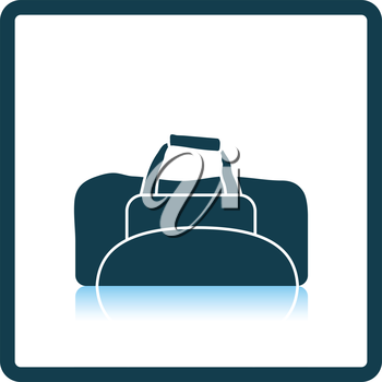 Icon of Fitness bag. Shadow reflection design. Vector illustration.