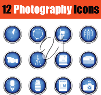 Photography icon set.  Glossy button design. Vector illustration.