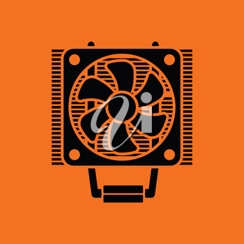 CPU Fan icon. Orange background with black. Vector illustration.