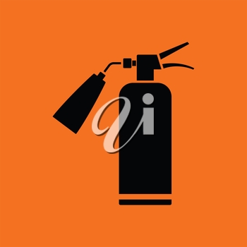 Fire extinguisher icon. Orange background with black. Vector illustration.
