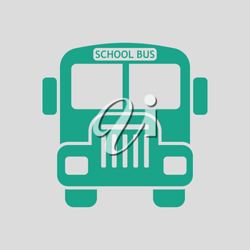 School bus icon. Gray background with green. Vector illustration.