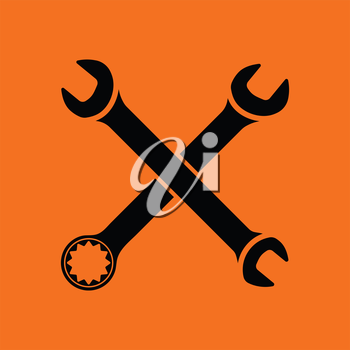 Crossed wrench  icon. Orange background with black. Vector illustration.