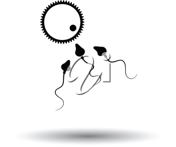 Sperm and egg cell icon. White background with shadow design. Vector illustration.