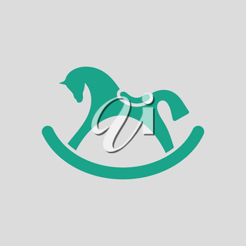 Rocking horse ico. Gray background with green. Vector illustration.