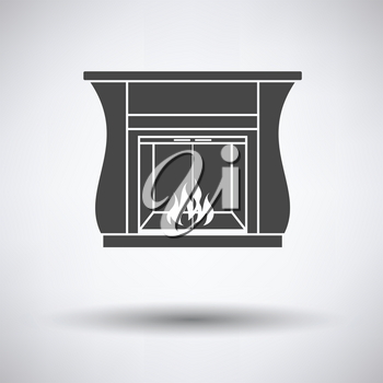 Fireplace with doors icon on gray background, round shadow. Vector illustration.
