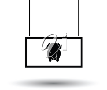 Poultry market department icon. Black background with white. Vector illustration.