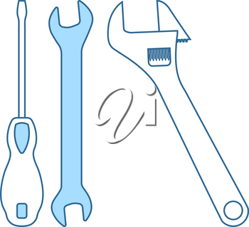 Wrench And Screwdriver Icon. Thin Line With Blue Fill Design. Vector Illustration.
