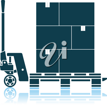 Hand Hydraulic Pallet Truc With Boxes Icon. Shadow Reflection Design. Vector Illustration.
