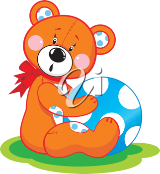 Royalty Free Clipart Image of a Bear With a  Ball