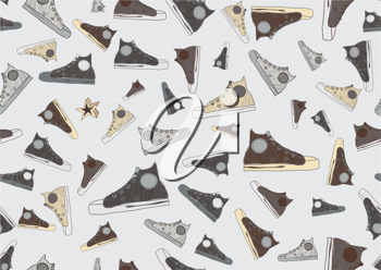Royalty Free Clipart Image of a Running Shoe Background