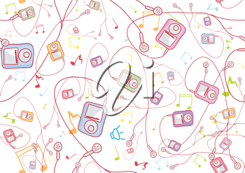 Royalty Free Clipart Image of an MP3 Player Background