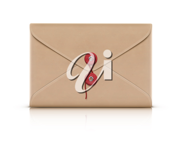 Vector illustration of realistic manila envelope isolated on a white background