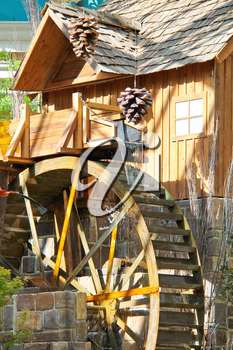 LAS VEGAS, NEVADA, USA - OCTOBER 21, 2013 : Watermill in a greenhouse at Bellagio Hotel in Las Vegas, Bellagio Hotel and Casino opened in 1998. This luxury hotel  owned by MGM Resorts International
