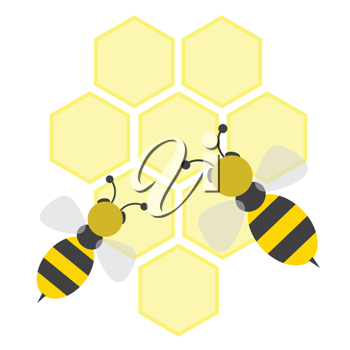Royalty Free Clipart Image of a Cartoon Bees on Honey Cells
