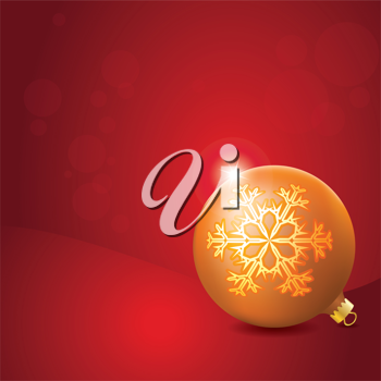 Christmas Ball with Snowflake Decoration, shiny star holiday background.