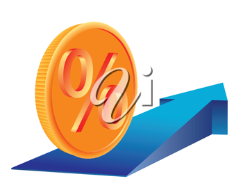 Money Coin with percent sign on growing trend arrow. Abstract business concept illustration.