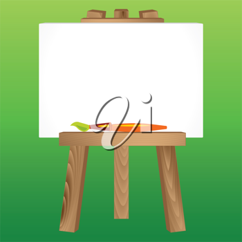 Wooden Painting tripod with blank white canvas and paintbrush