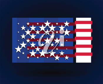 american flag style flyer with stars abstract vector illustration