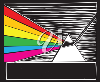 Royalty Free Clipart Image of a Prism With Rainbow