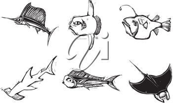Royalty Free Clipart Image of a Group of Underwater Animals