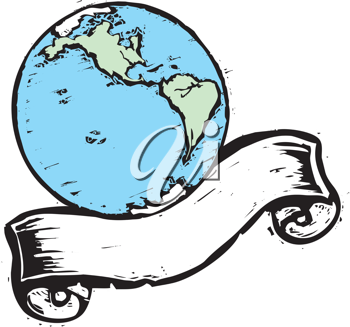 Royalty Free Clipart Image of Earth and a Banner
