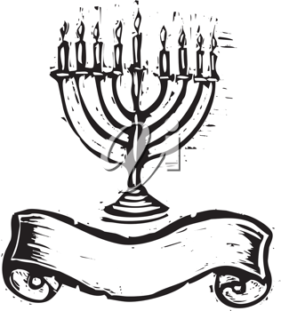 Royalty Free Clipart Image of a Menorah and Banner