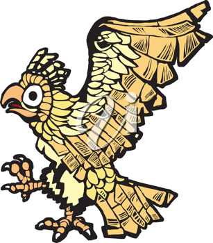 Royalty Free Clipart Image of an Aztec Eagle
