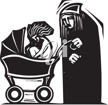 Woodcut style image of an old person pushing a beautiful young woman in baby carriage