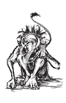 ketchy style mythical Swedish troll with tusks and tail