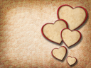 Vintage floral background with paper hearts